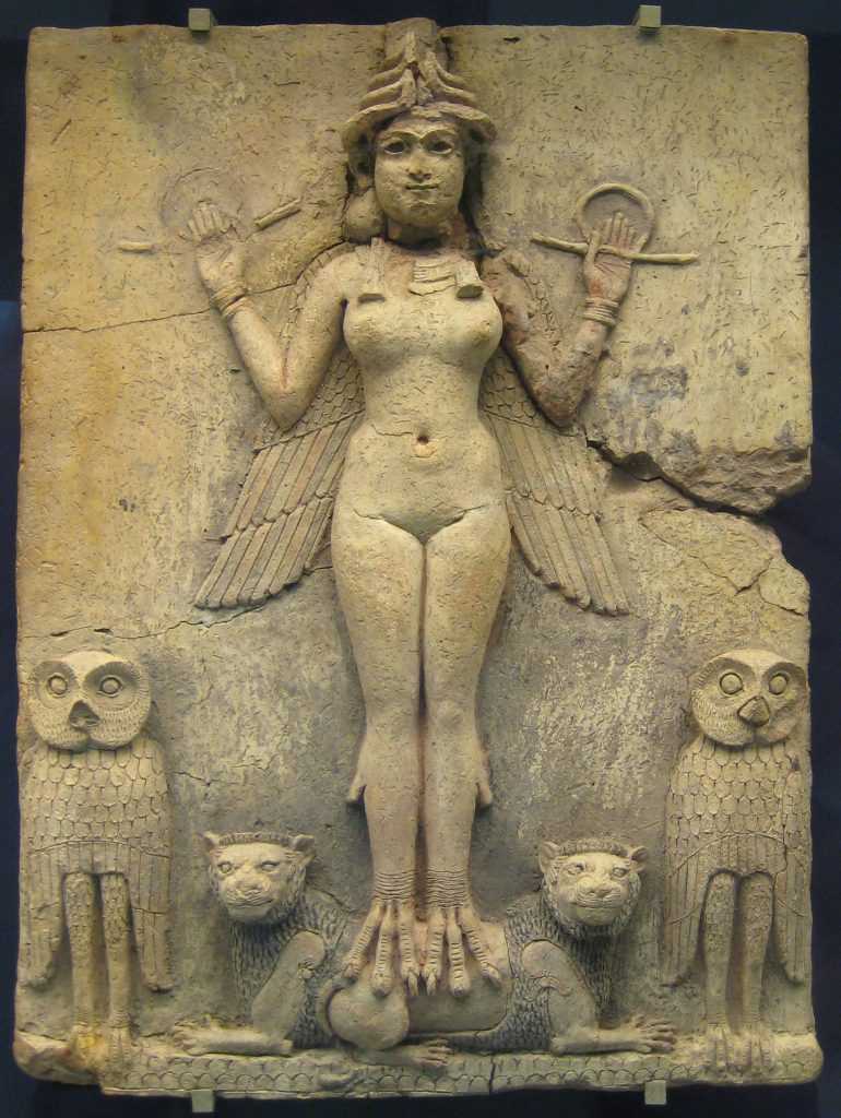 Winged female figure with bird's feet, standing on a double-headed lion, owls at either side