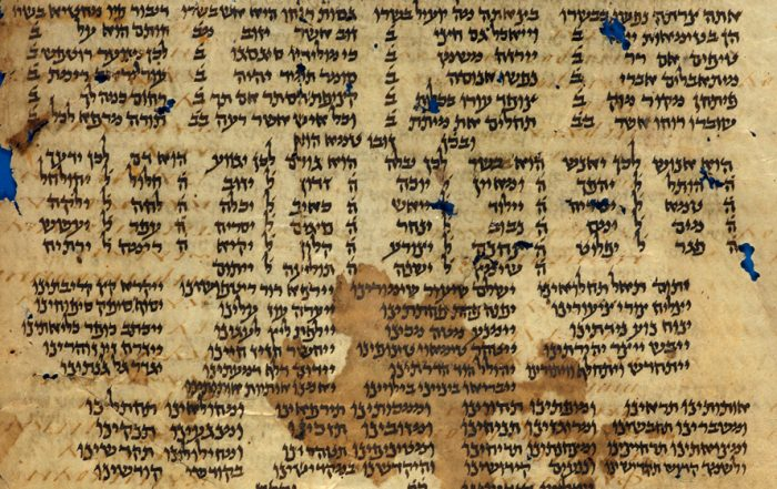 An ancient calfskin manuscript covered in columns of Hebrew writing, showing visible signs of age through discoloration, spotting and missing pieces.