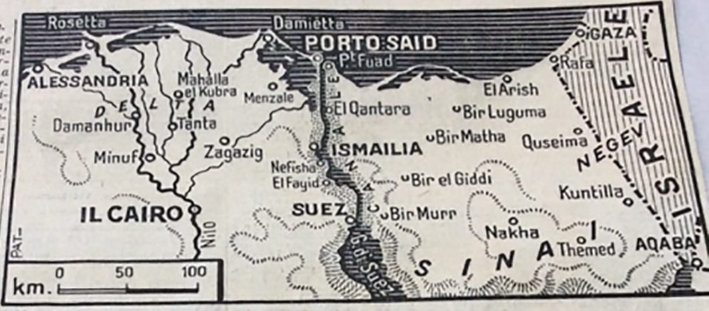 "A historic black-and-white print map showing northeastern Egypt, including the Suez canal and ""Porto Said"""