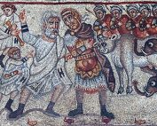 Mosaic made of tiny colored pieces of tile showing two leaders confronting each other: one with a white beard in white robes leading a group of white-clad men; the other, a middle-aged kingly-looking man wearing armor and a cape, with armored soldiers, two armored elephants and a cow behind him