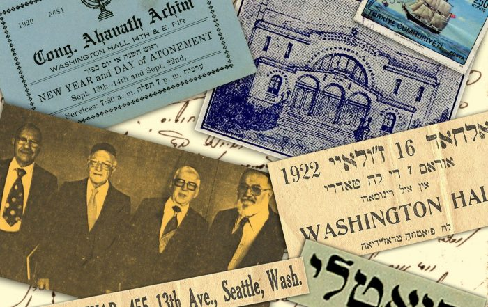 Collage showing historic documents from Sephardic Seattle, including a black-and-white photograph, stamp, and a print image, with Soletreo in the background