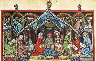 Medieval illumination from the Darmstadt Haggadah showing a group of men and women in long medieval robes studying books