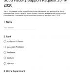 Screenshot of faculty support form