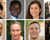 Collage showing the portraits of the eight 2019-2020 graduate fellows in Jewish studies