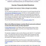 Screenshot showing the courses FAQ
