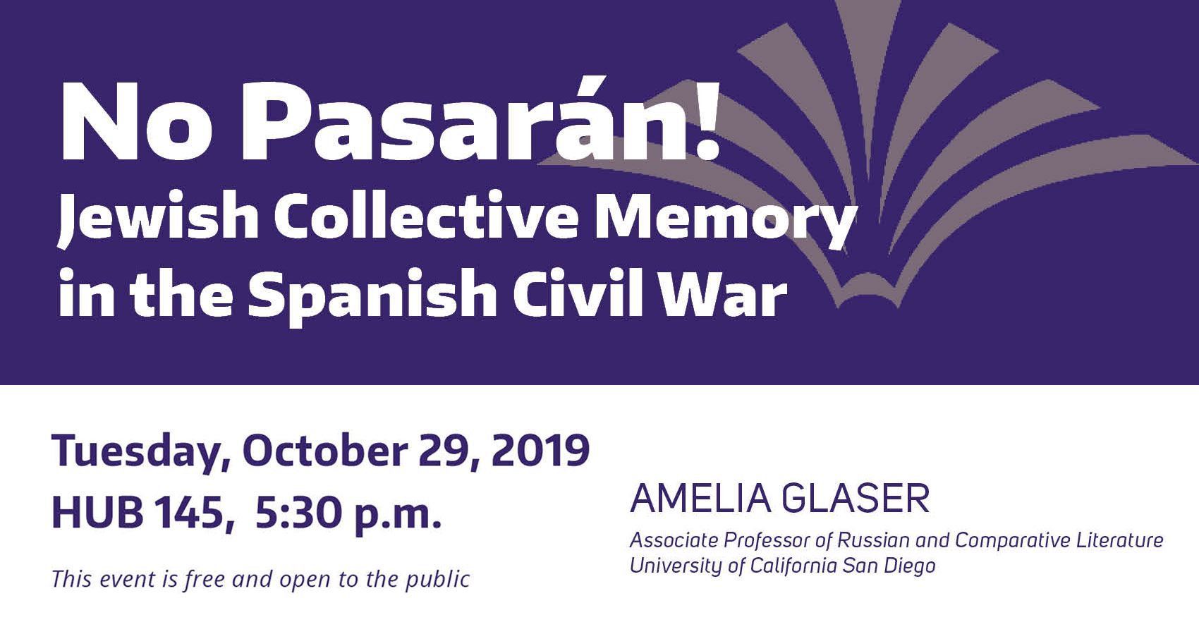 "Title card for Amelia Glaser event, ""Jewish Collective Memory in the Spanish Civil War"""