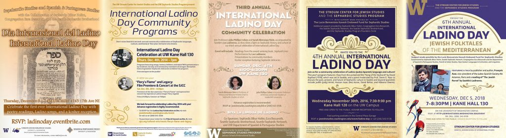 Collage of posters of previous International Ladino Day