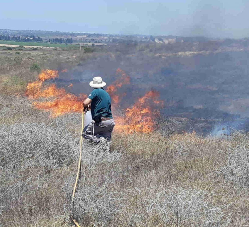 A worker in a sun hat hoses down a burning patch in a dry field