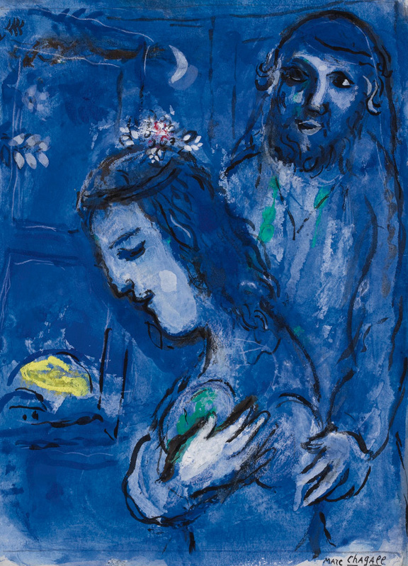 Deep-blue painting showing a woman with a crown of flowers smiling, eyes closed, while a man wearing a tunic embraces her and gazes upwards
