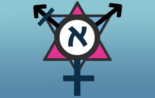 "Symbol showing two ""male"" Mars symbols interlocking with a ""female"" Venus symbol, with a Star of David with a pink triangle in the background and a Hebrew aleph symbol in the foreground"