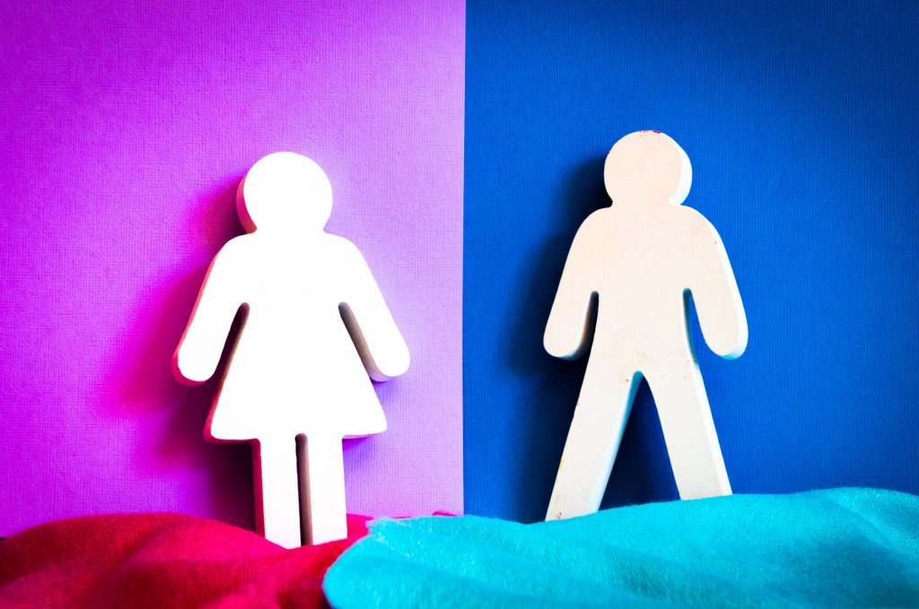 "Bathroom-door-style cutouts of ""female"" and ""male"" shapes, showing a stick-figure woman in a skirt and a stick-figure man in pants, on backgrounds of dark pink and blue"