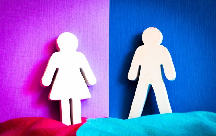 """Bathroom-door-style cutouts of """"female"""" and """"male"""" shapes, showing a stick-figure woman in a skirt and a stick-figure man in pants, on backgrounds of dark pink and blue"""