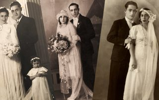 Collage of historic black-and-white photographs showing Sephardic Jewish couples in wedding clothing