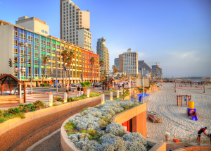 Image of Tel Aviv skyline, beach and buildings