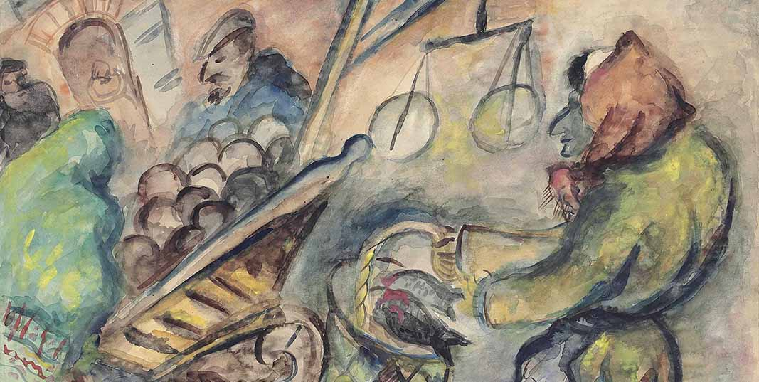 """Detail from the painting """"At the Market,"""" showing an impressionistic watercolor painting of a woman in a headscarf carrying fish in a basket, next to a cart full of potatoes and a scale"""