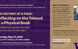 """Purple and gold banner showing the """"Talmud as a Physical Book"""" event information, with a picture of a Talmud page in the background and a portrait of Dr. David Stern on the right side"""