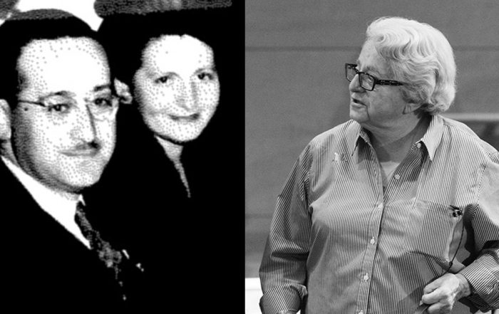 Collage showing UW alumna and Seattle resident Arlene Ehrlich (left) and her parents, Mitchell Ehrlich and Sophie Wise Ehrlich in 1945, smiling (left)