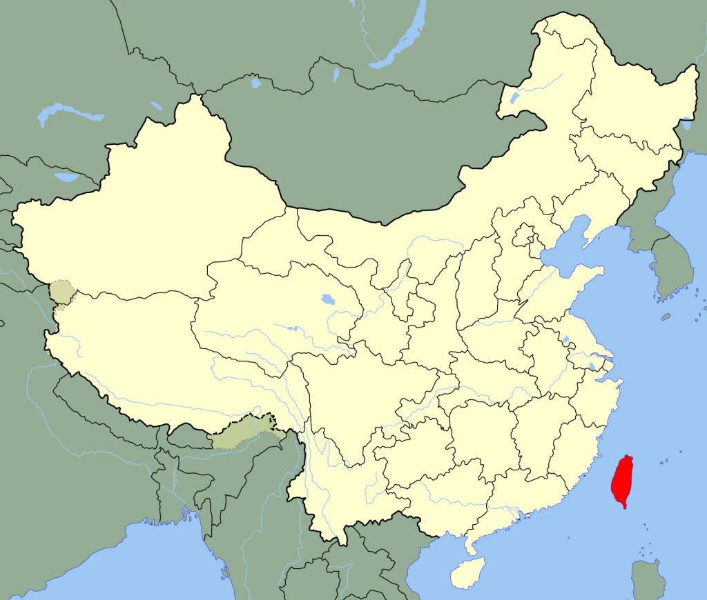 Map showing the island of Taiwan, off the southeastern coast of China