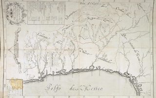 18th-century map of present-day Northeastern Mexico and South Texas from the Archivo General de Indias.