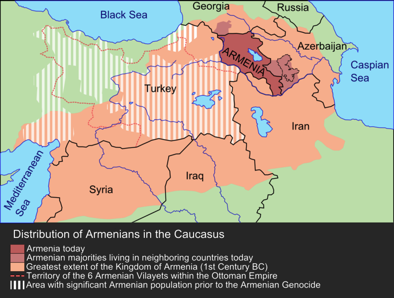 Map showing the region of modern-day Turkey, Armenia, Iran, Iraq and Syria, showing a wide-reaching former Kingdom of Armenia spreading across the region, and Armenian populations spreading across the area of modern-day Turkey prior to the Armenian genocide