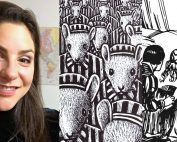 """Collage showing a photo of Grace Levy, smiling with a map visible in the background, next to a panel from the graphic novel """"Maus"""" with a crowd of mice instriped prisoner outfits, and a pen and ink illustration of Sleeping Beauty lying in bed"""