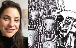 "Collage showing a photo of Grace Levy, smiling with a map visible in the background, next to a panel from the graphic novel ""Maus"" with a crowd of mice instriped prisoner outfits, and a pen and ink illustration of Sleeping Beauty lying in bed"