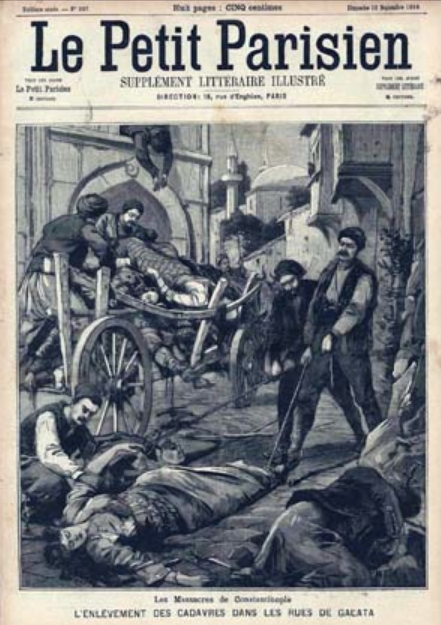 "Illustrated cover of ""Le Petit Parisien"" showing men collecting the bodies of dead women and men and placing them in a wooden cart."