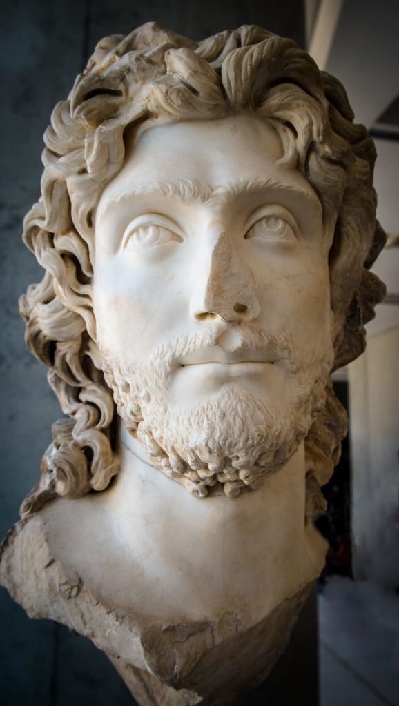 Fragment of a statue, showing a classically attractive male face framed by long, curly hair and a short beard