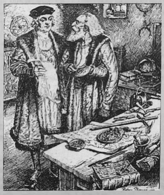 Black and white sketch of two men, one of whom is Christopher Columbus, charting a voyage. They are standing next to each other with a table and drawing materials in front of them. They are wearing medieval dress, like robes and floppy hats. The man on the right is facing the man on the left and talking to him.