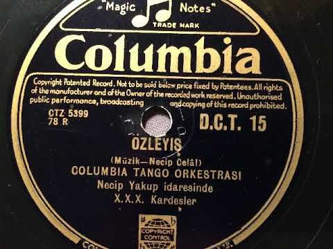 Black record with gold label: Columbia Records.