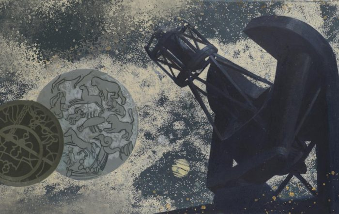 Collage style image of a telescope and astronomical tools and symbols. The image background is indigo with grey clouds. The telescope is on the right side of the image and is dark blue. The astronomical symbols are on the left side and are grey and dark blue circles with designs.