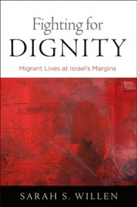 Red and white book cover with title Fighting for Dignity