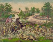 Painting of a battle during the Fillipine-American war. Lots of trees and foliage in background against a yellow and blue sky. Main feature in foreground is a soldier on a brown rearing horse. Horse surrounded by slain soldiers in tan and beige uniforms.