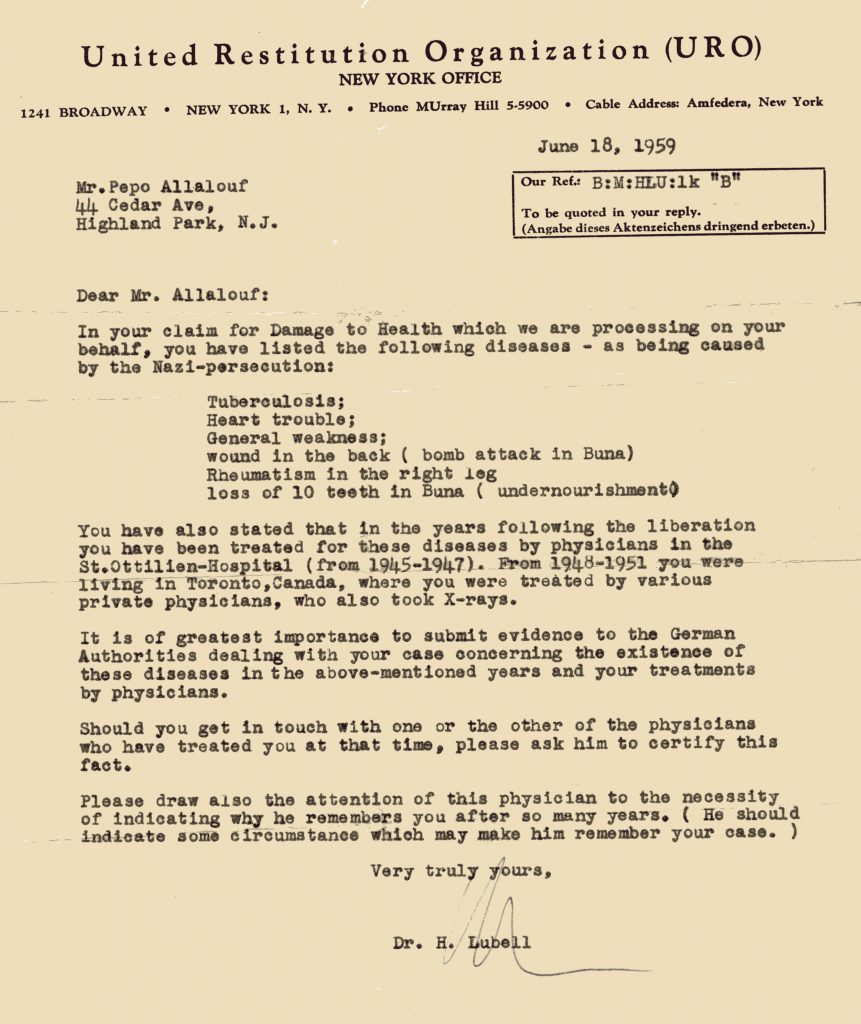 United Restitution Document for Pepo Allalouf. Black ink, typed on a type writer, on yellowed paper.