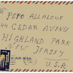Envelope addressed to Pepo Allalouf at a New Jersey address. Envelope is distressed on top right corner. Paper is parchment colored with a red and blue border, typical of international Air Mail letters in the late 20th century. Blue stamp at bottom left with yellow star of David (from Israel).