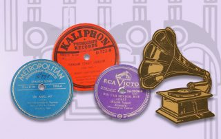Light purple background with art deco pattern. At left: text reads Bailar a la Turka: 78 rpm records in Seattle Sepharadi households. At right: 3 record labels, one blue, one red, one purple, and a black and yellow illustration of a phonograph.