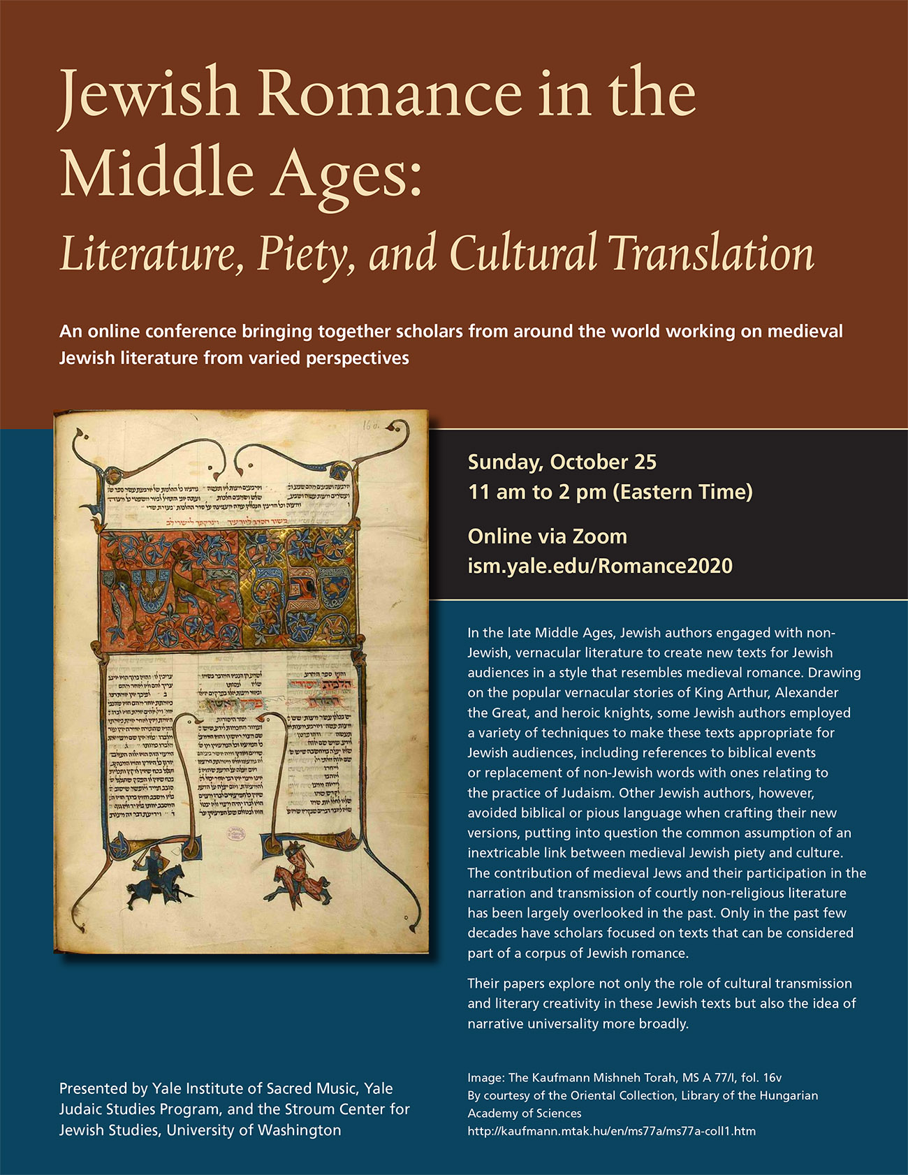 "Poster for the conference ""Jewish Romance in the Middle Ages: Literature, Piety and Cultural Translation"""