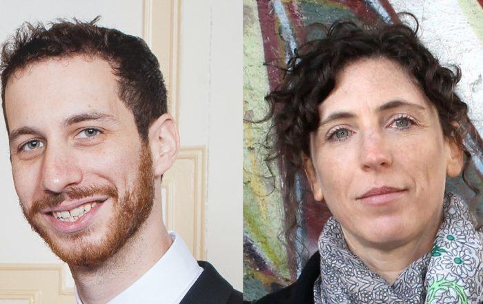 Portraits of Brendan Goldman and Smadar Ben-Natan, side by side