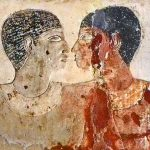 Ancient image of two men kissing