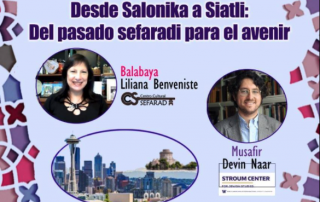 Flyer from Enkontros de Alhad featuring headshots of Liliana Benveniste and Devin Naar against a purple background.