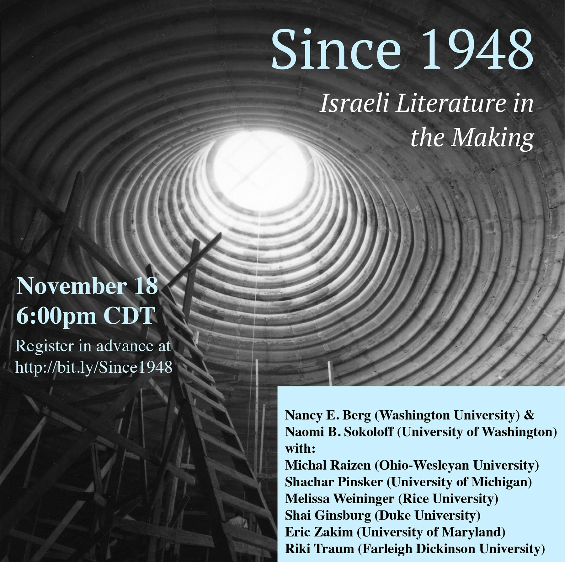 "Poster for ""Since 1948: Israeli Literature in the Making"""