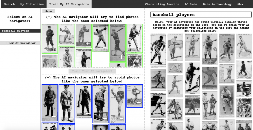 Screenshot of Lee's Newspaper Navigator tool, which in this case is picking out images of baseball players from American newspapers.
