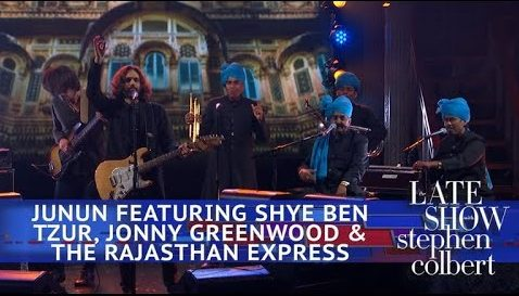 Screenshot showing the band Junun performing on The Late Show