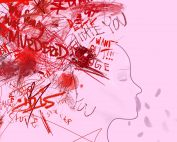Outline of a head with red text, scribbles