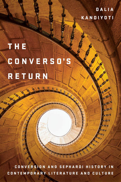 Book cover of The Conversos Return, which is orange with a spiral staircase.
