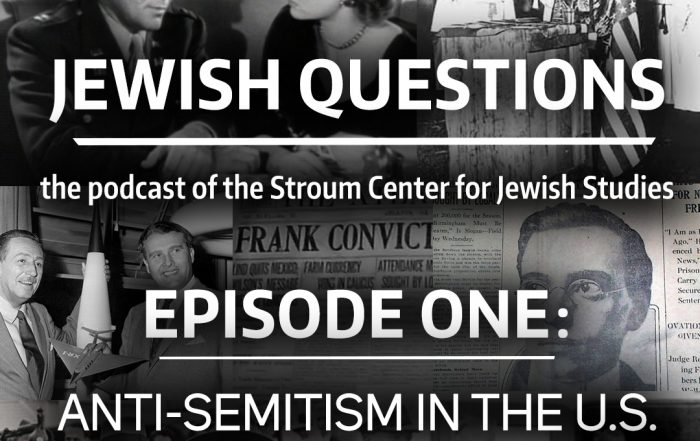 Collage of black-and-white photos related to anti-Semitism