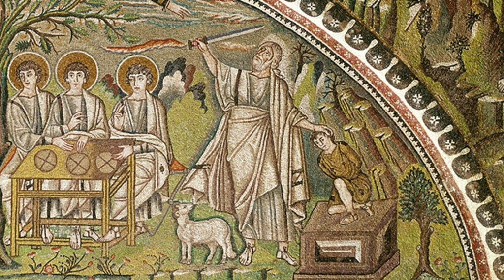 Colorful mosaic showing the sacrifice of Isaac by Abraham