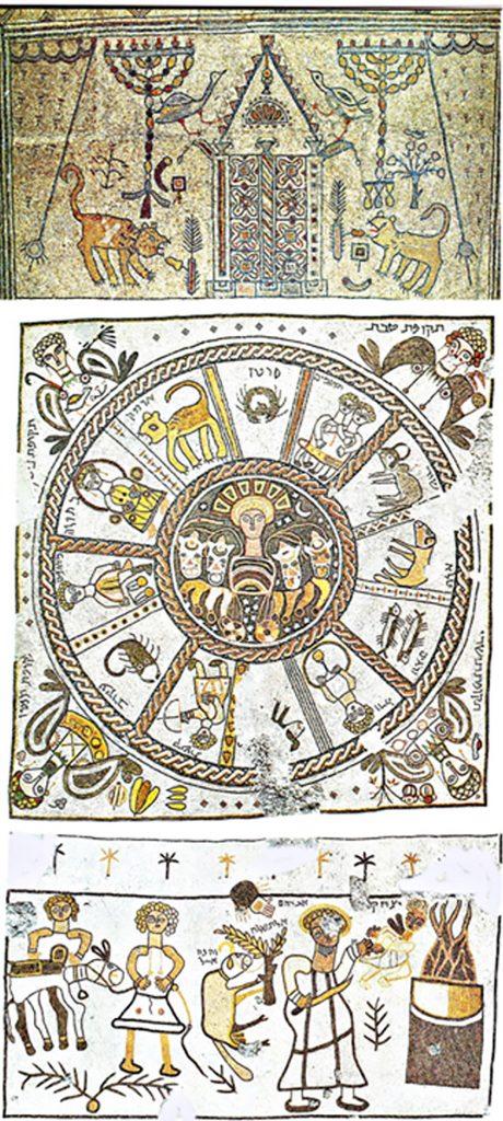Colorful mosaics showing menorahs, the zodaic wheel, and the Akedah scene