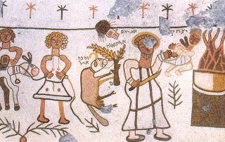 Mosaic showing stylized version of the Isaac/Abraham story