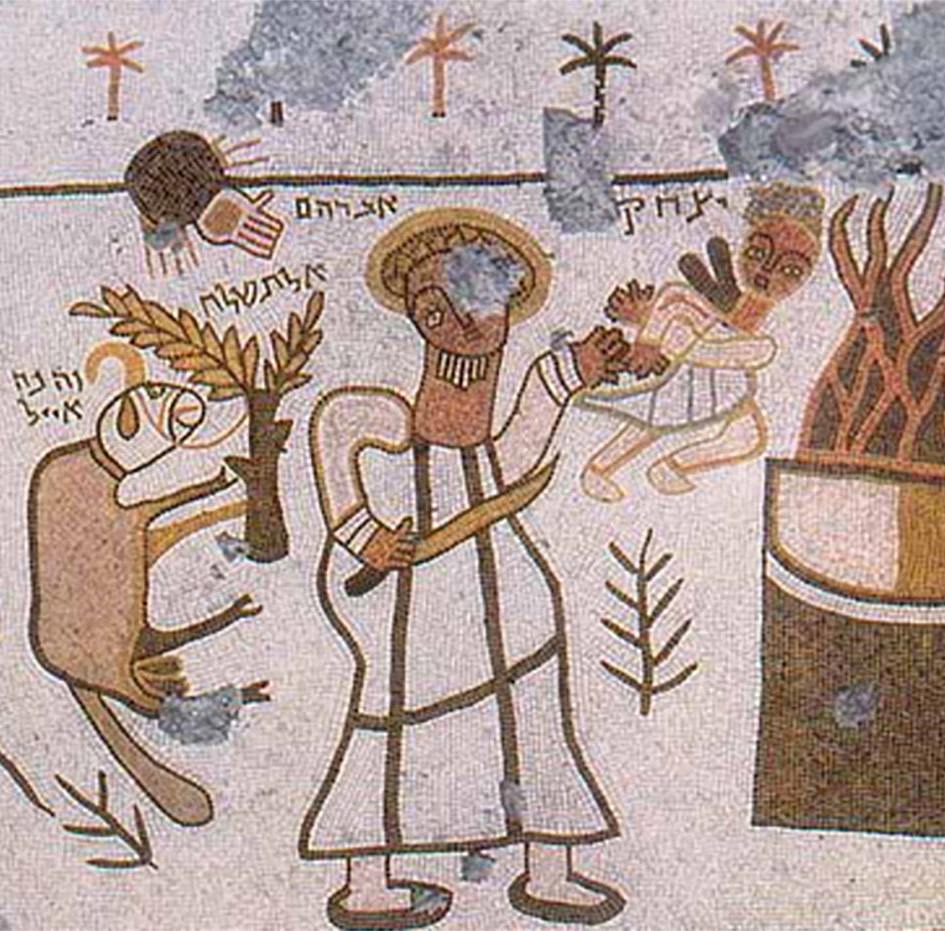 Stylied Abraham holding Issac above the flames with one hand and a knife in the other